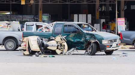 motorcycle accidents: motorcycle crash with truck on road
