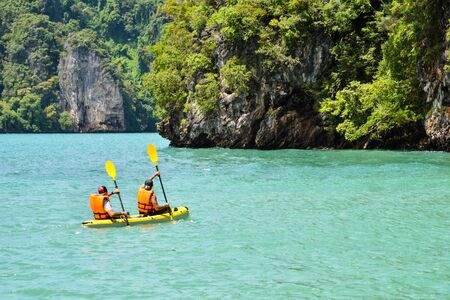 two man kayak in the sea near island in thailand Imagens