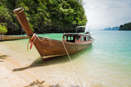 taxi wooden boat on beautiful island in thailand