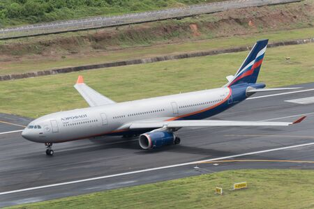 airway: Phuket, Thailand ; September 17,2015 Aeroflot airway airplane take off at phuket airport