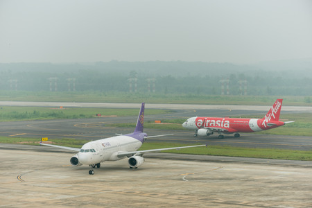 Krabi , Thailand ; October 6,2015. Krabi airport late in morning effect from Haze caused by forest fires in indonesia