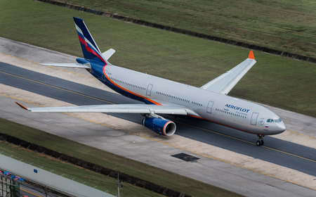 airway: Phuket, Thailand ; September 17,2015 Aeroflot airway airplane taxi at phuket airport