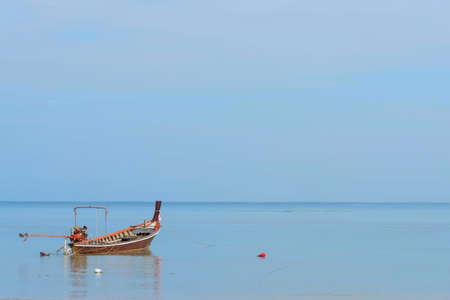 small fishing boat float in ocean at Nai yang beach Phuket Stock fotó