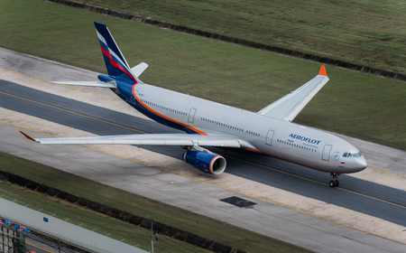 Phuket, Thailand ; September 17,2558 Aeroflot airway airplane taxi at phuket airport