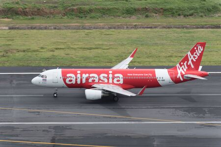 airway: Phuket, Thailand ; September 17,2015 Airasia airway airplane take off at phuket airport Editorial