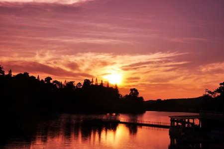 rayong: High Temp Twilight at Rayong Lake Thailand Stock Photo