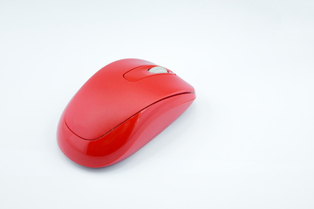 Red wireless mouse computer on white background