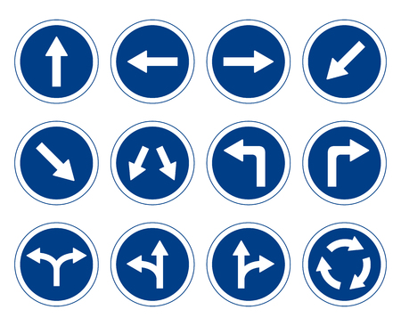 Traffic signs set, Road signs collection flat design Vecteurs