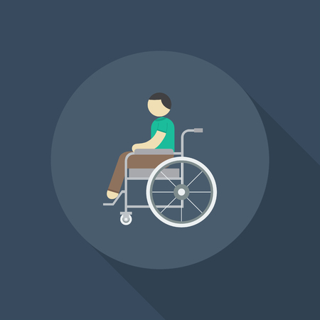 A patient on wheelchair, Disabled symbol - Vector Illustration