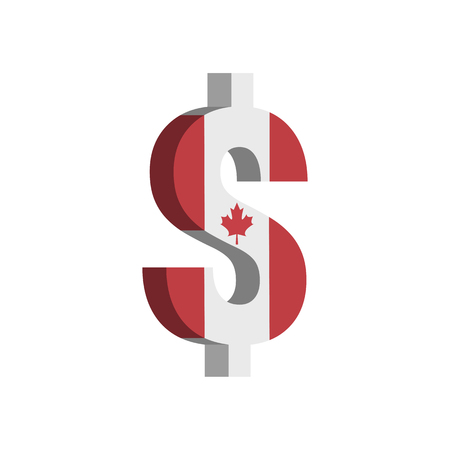 Canadian Dollar (CAD) currency symbol with flag - Vector Illustration