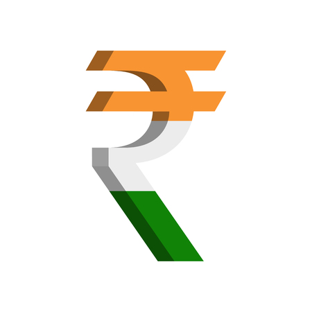 Indian rupee (INR) currency symbol with flag - Vector
