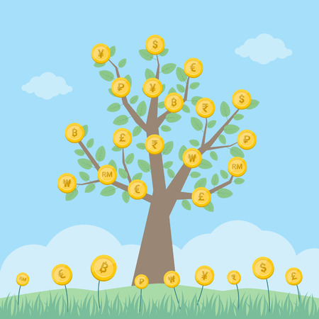 Money Tree With World Currency Coins - Vector