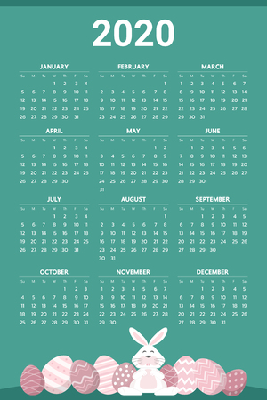 2020 Calendar with easter egg theme - Vector Vettoriali