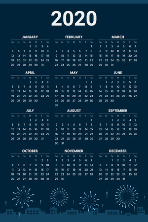 2020 Calendar with fireworks theme - Vector Çizim