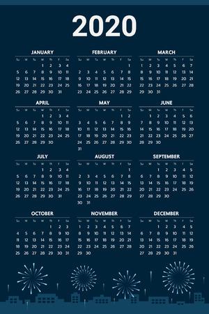 2020 Calendar with fireworks theme - Vector Illustration