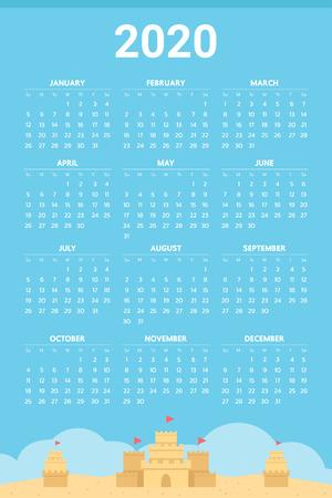 2020 Calendar with sand castle theme - Vector Illustration