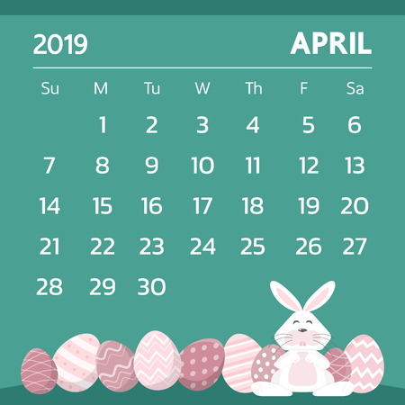 Calendar for April 2019 with easter egg theme - Vector
