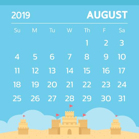 Calendar for August 2019 with sand castle theme - Vector Illustration