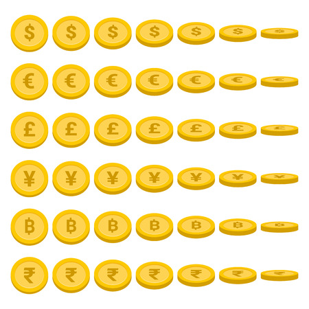 World currency rotate coins set, Currency symbol collection - Vector