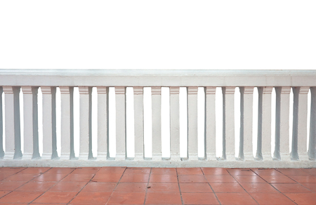 Concrete baluster and red tile, Balcony isolated on white background.