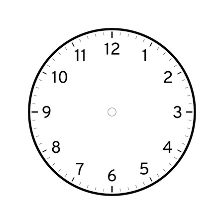 Empty printable clock face template isolated on white background Çizim