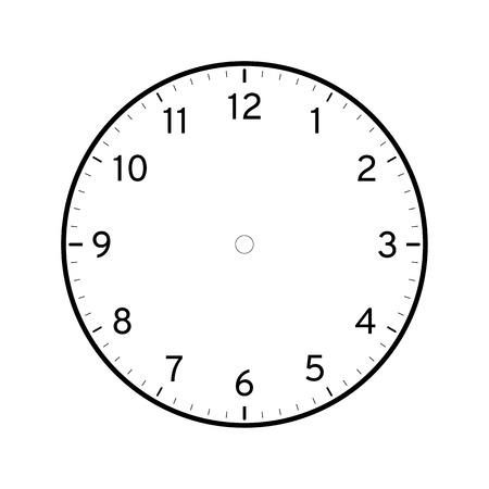 Modello di quadrante di orologio stampabile vuoto isolato su sfondo bianco Vettoriali