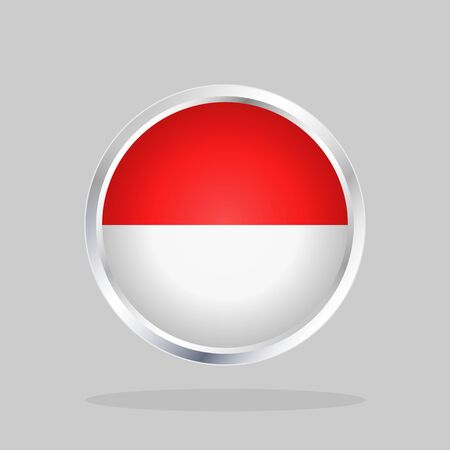 Flag of Indonesia, Glossy Round Button With Metallic Frame 向量圖像