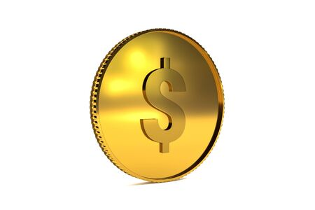 3d rendering - Golden coin with dollar sign isolated on white background. Dollar coin viewed at an oblique angle.