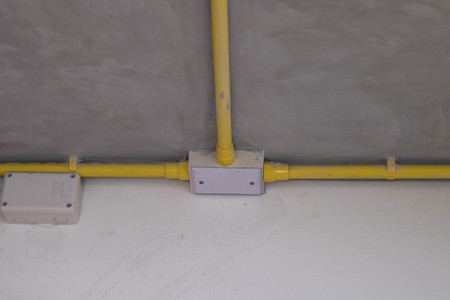 celling: electric pipe line on celling Stock Photo