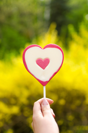 lolipop: heart shaped lolipop in hand on yellow natural background Stock Photo