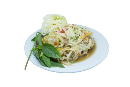 tam: papaya salad is savory food. Stock Photo