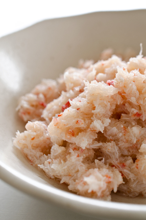 food preservation: Flakes of snow crab Chionoecetes opilio Stock Photo