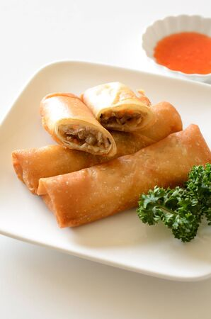 spring roll: Fried spring roll sauce Stock Photo