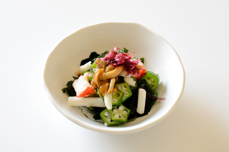 gunk: Sticky vegetables and seaweed salad.