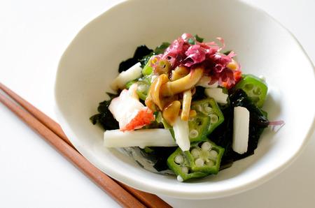 Sticky vegetables and seaweed salad.