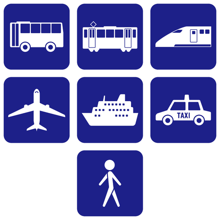 Set of transportation icons in silhouette illustration. 向量圖像