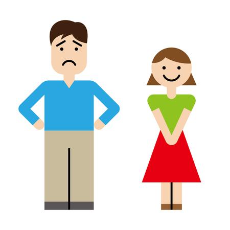 Husband and wife emotion set Çizim