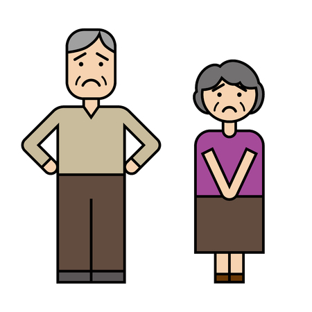 Senior couple Çizim