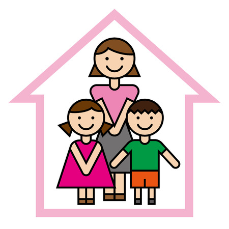 Mother and children vector illustration. Illustration