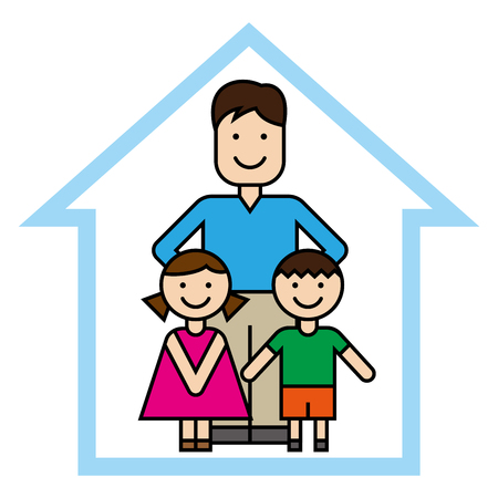 Father and children vector illustration.