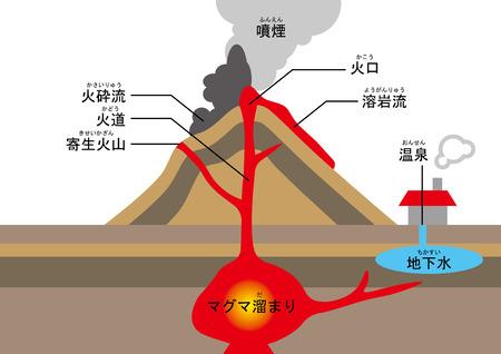 火山の構造  イラスト・ベクター素材