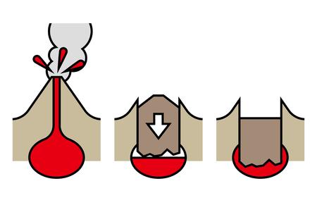 Caldera structure illustration good for logo on a plain background.