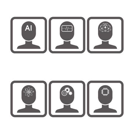 AI icon  イラスト・ベクター素材