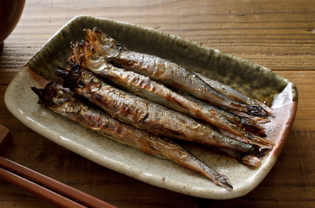 Grilled smelt Stock Photo
