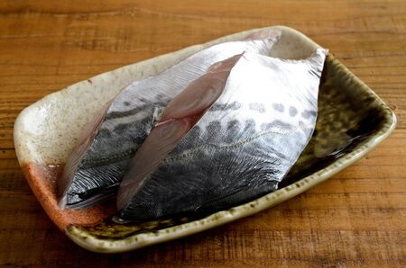 Slice of raw spanish mackerel