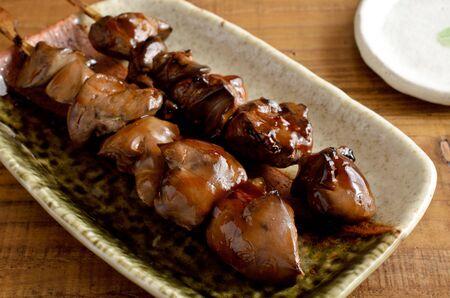 skewered chicken liver Imagens