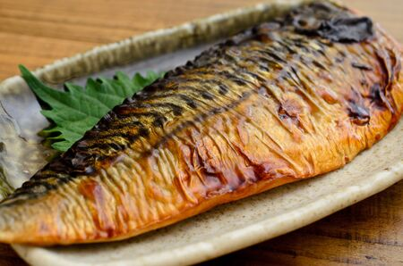grilled mackerel with teriyaki sauce