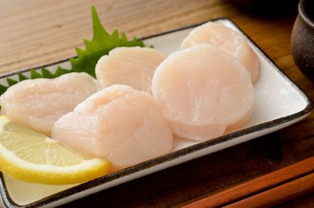 scallop adductor muscle sashimi 版權商用圖片