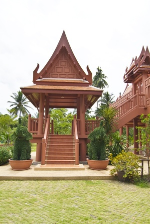 Traditional Thai style wood pavilion Stock Photo