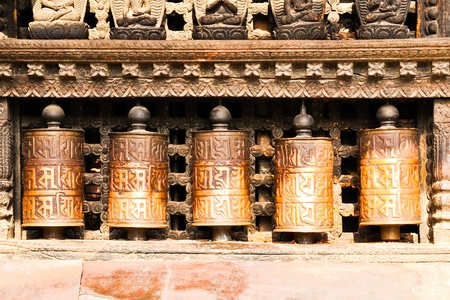 buddhist prayer wheels  Stock Photo